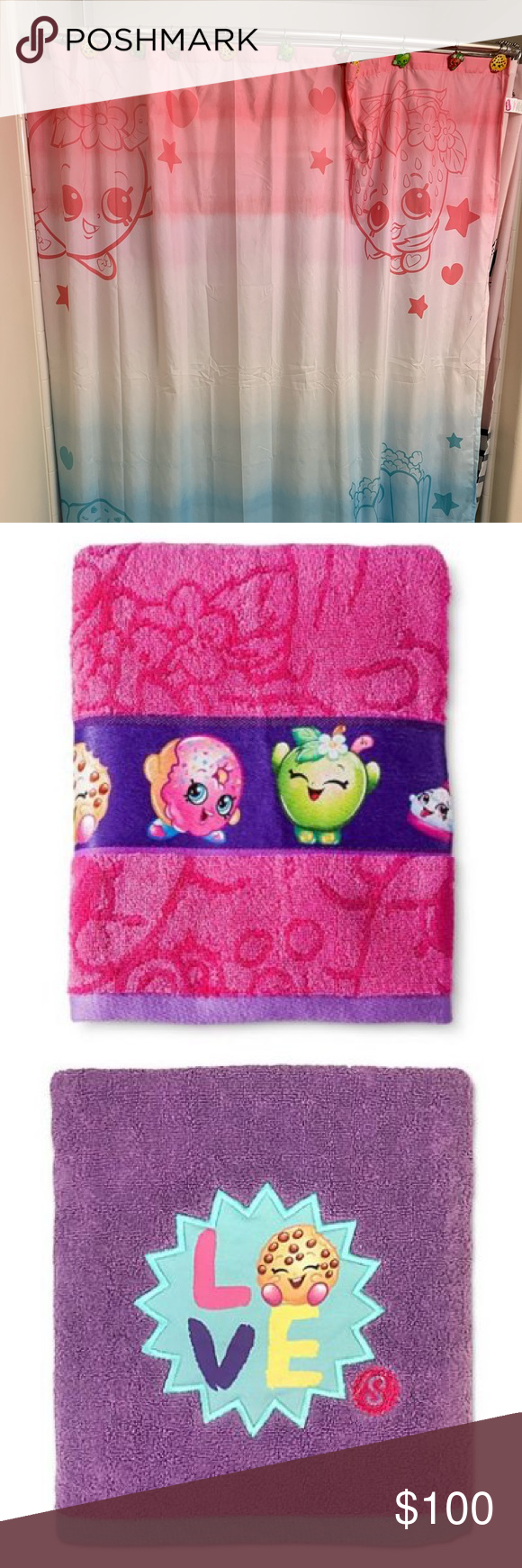 Shopkins Bath Set Curtain Towel Rings Rug Trash Shopkins Bathroom