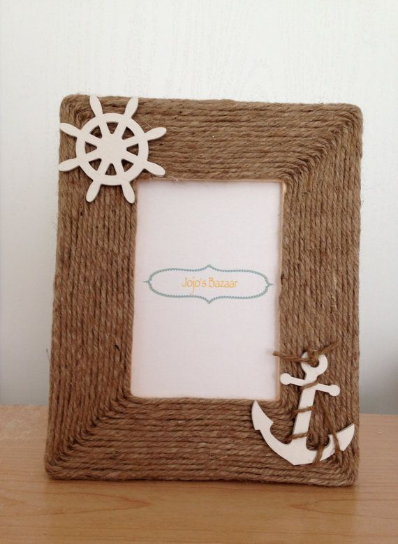 4x6 Nautical Picture Frame In Natural Jute With Ship Wheel And