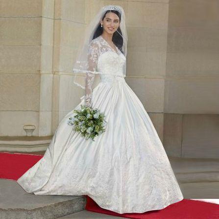 luxurious long-sleeve lace satin dance wedding