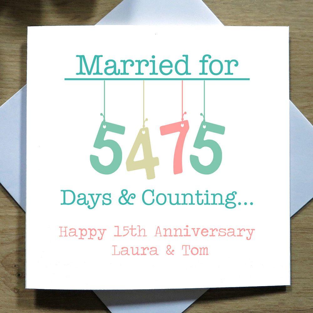 15th Wedding Anniversary.Personalised Handmade 15th Wedding Anniversary Card Crystal