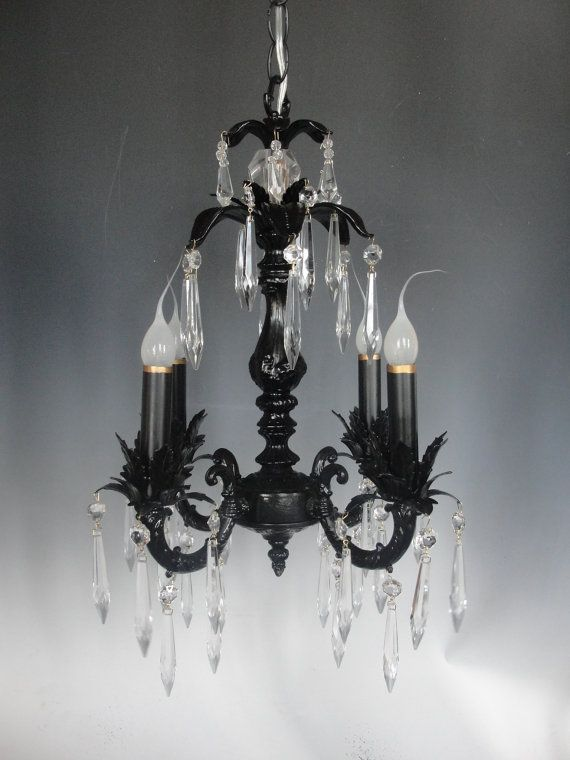 Custom black chandelier lighting light fixture shabby chic on sale black chandelier crystal chandelier cottage by lightlady 27500 mozeypictures