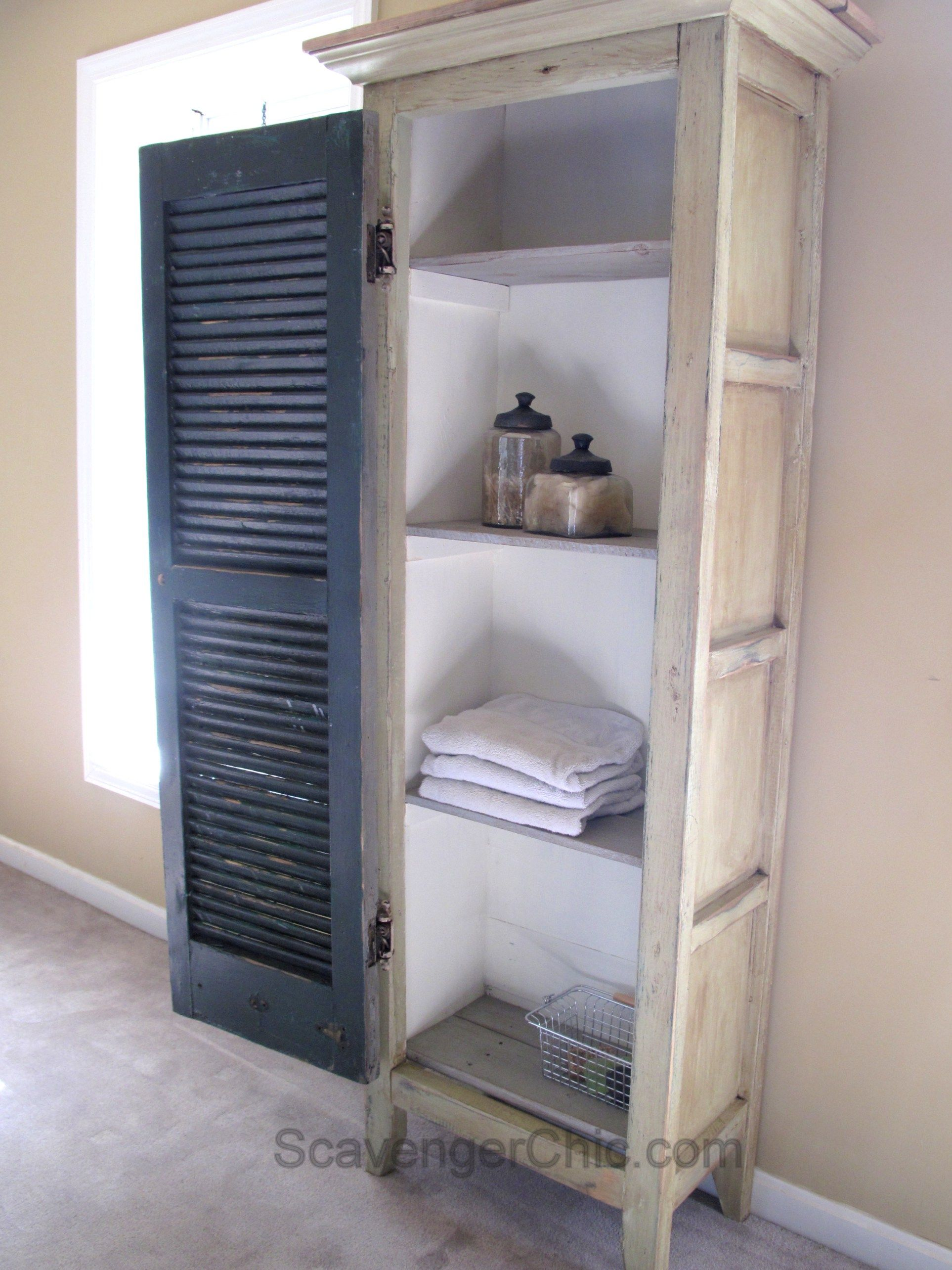 Shutters For Kitchen Cabinets Diy Vintage Shutter Cupboard Cabinet Pinteres