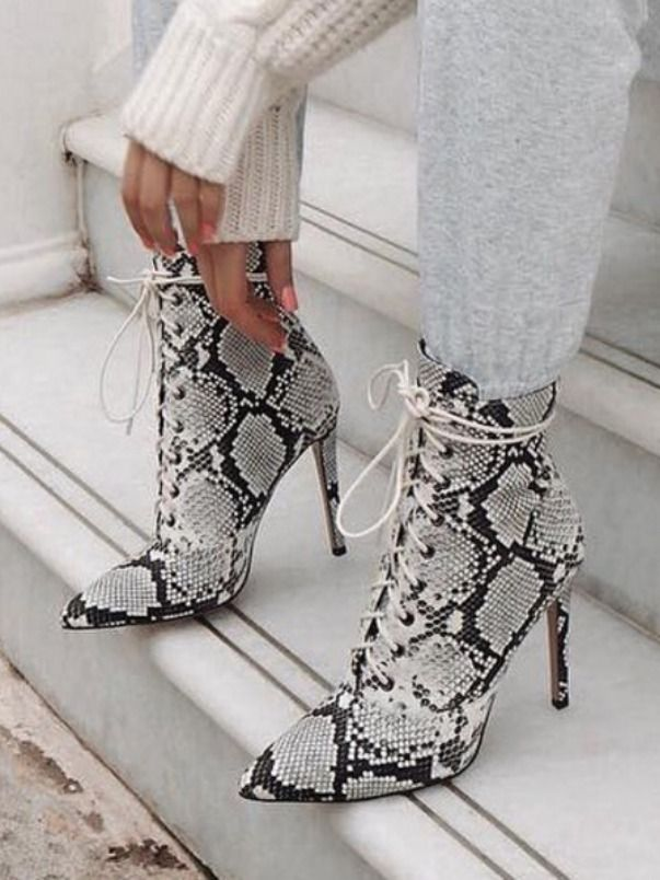 Snake Print Lace Up Boots Ankle Heels Women