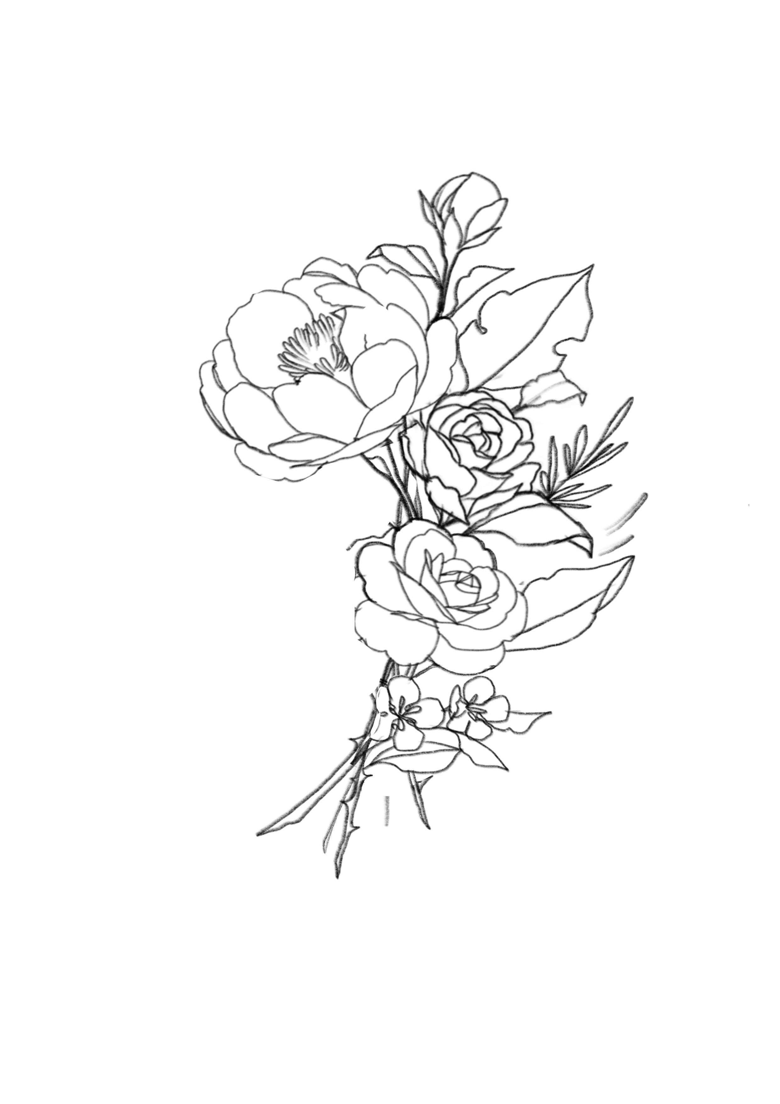 Inspiration For Cute Simple Mini Flower Tattoo Ideas Awesome Mini Bouquet Of Flowers Female Figures Favorit Flower Bouquet Drawing Flower Tattoo Flower Drawing