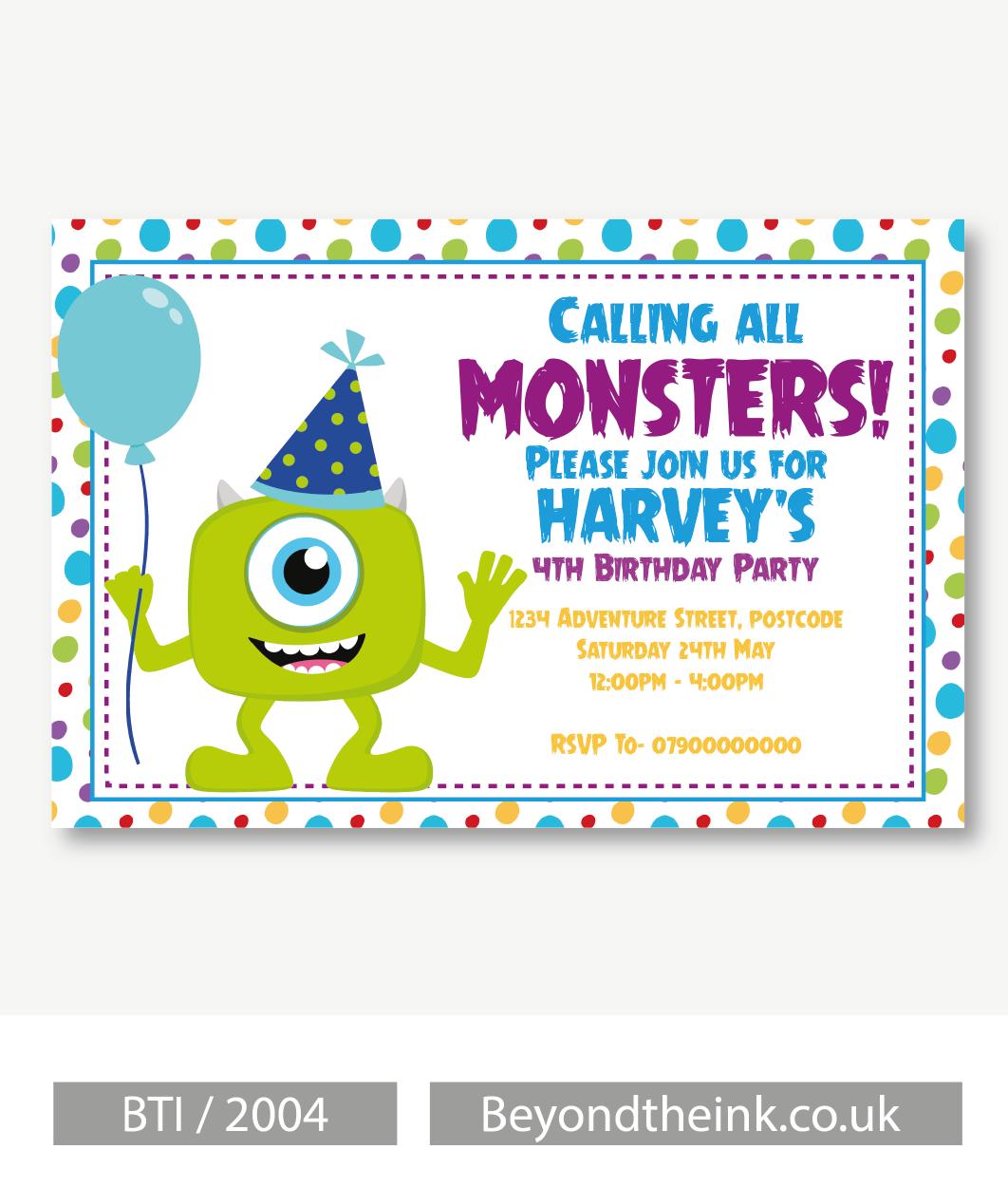 Personalised Monsters Inc Mike Wazowski Invitations. Printed on ...