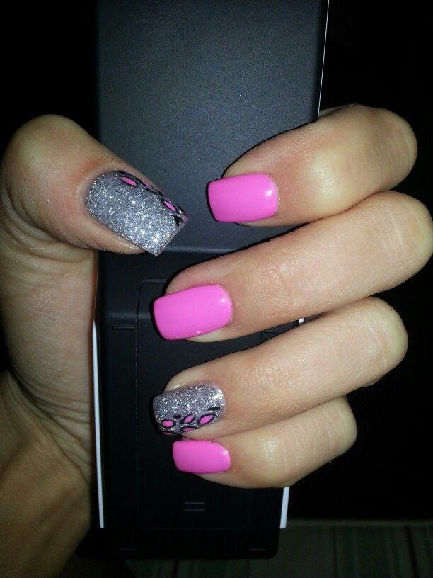 Ongles gel rose et argent d co leopard maquillage for Modele ongle gel decoration