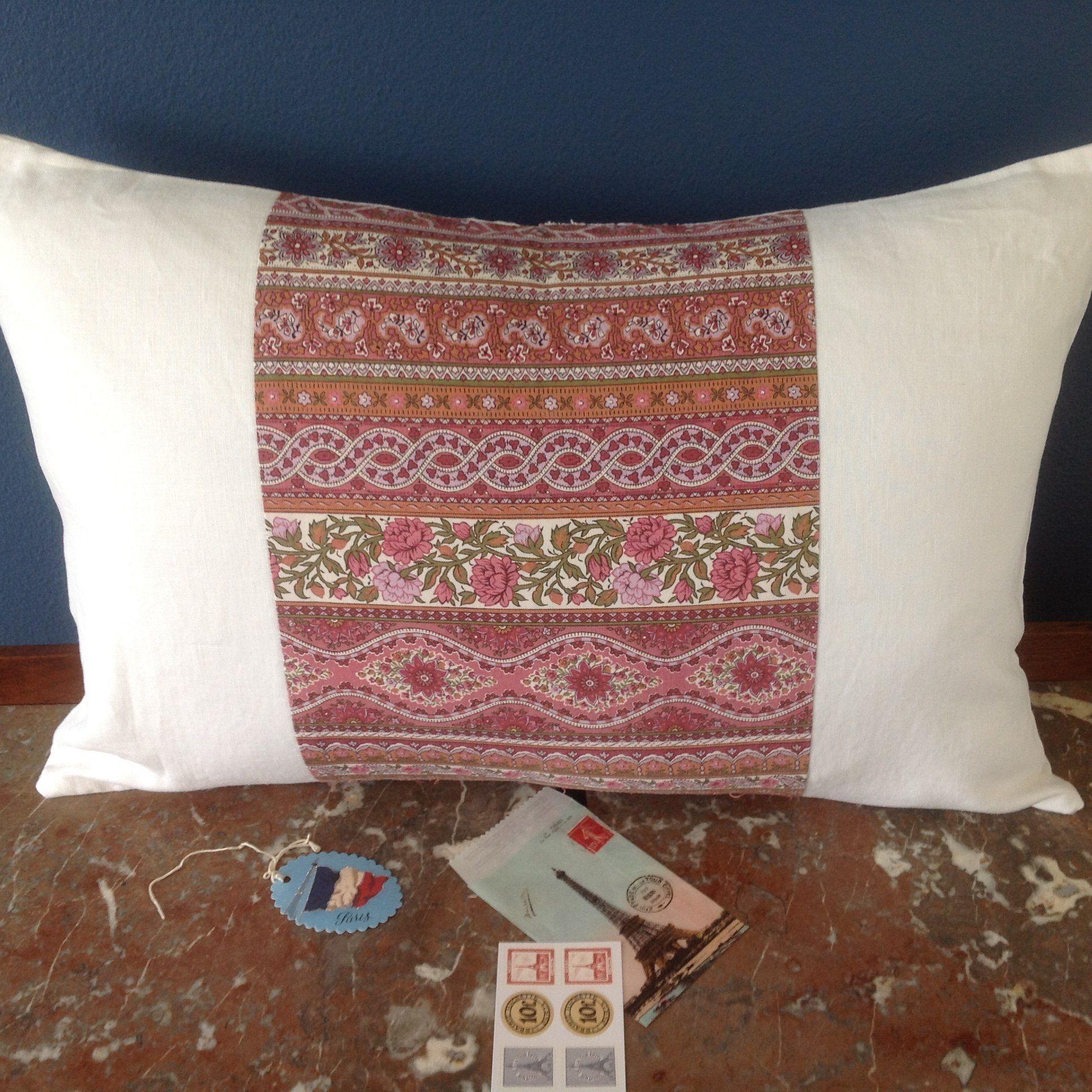 French ticking pillow large vintage handmade pink white pillows