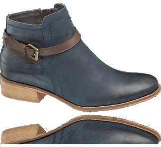 #Stiefelette von 5th Avenue für 59,90 € -  aus blauem #Leder gearbeitet und mit markanten Teilungsnähten versehen, die den Verlauf des vorne etwas höher geschnittenen Schafts und den Fersenbereich konturieren. Für lässige Eleganz sorgt der locker um den Knöchel gelegte braune Riemen mit kleiner Metallschließe. Das Innenmaterial besteht ebenfalls aus Leder. Der Schuh verfügt über einen #Reißverschluss und einen beigefarbenen 3-cm-Absatz. Nur exklusiv im #Deichmann Online Shop!