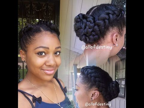Two Braids Into A Low Braided Bun Summer Style By Momma Natural Hair Styles Two Braid Hairstyles Hair Styles