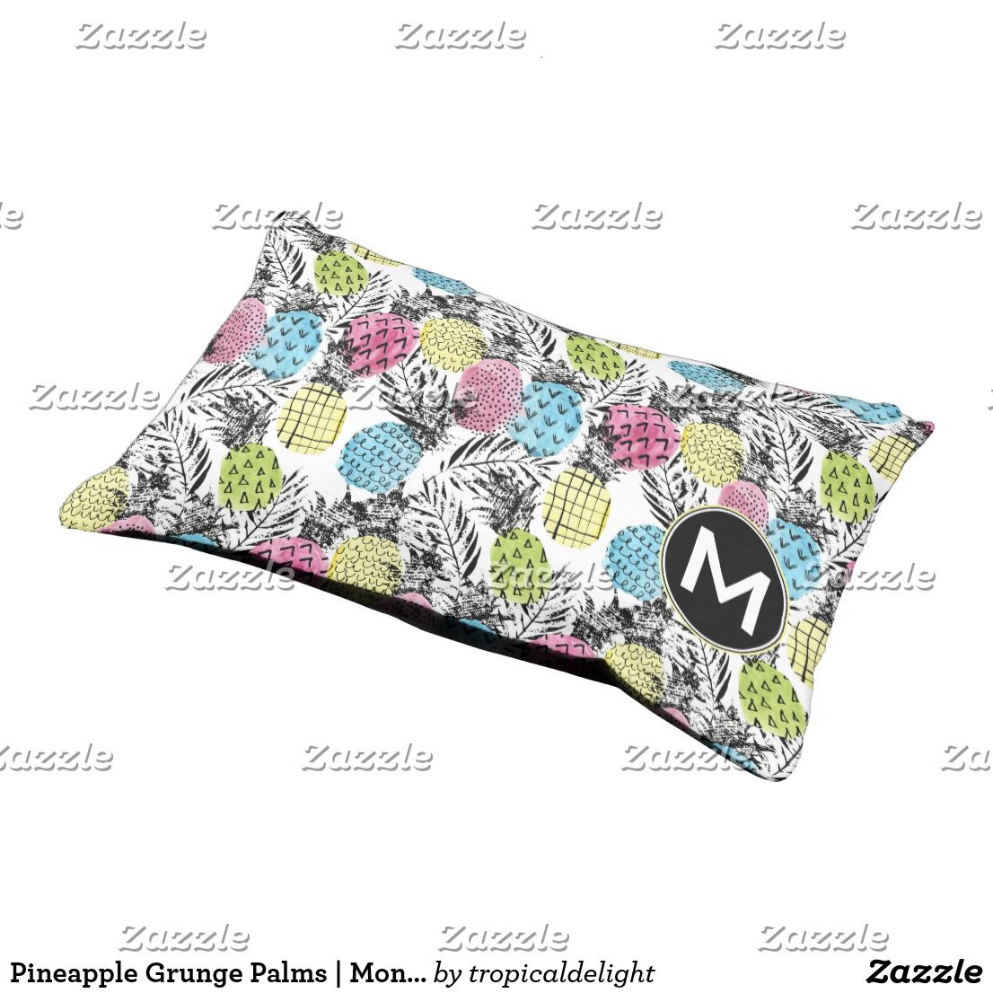 Pineapple Grunge Palms Monogram Pet Bed