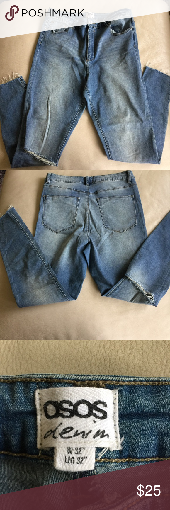 "ASOS Distressed Skinny Jeans size 32 or 14 ASOS Distressed Skinny Jeans in size 32 or size 14. High rise. Torn at one knee and unfinished at bottoms. Inseam = approx. 29"" ( tag says 32"" but I measured them myself) Rise = approx. 12"" Super cute! ASOS Jeans Skinny"