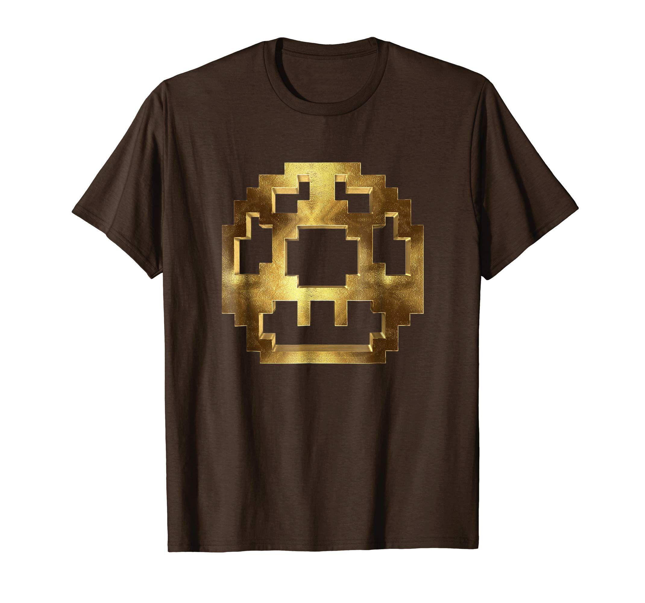 Brown Golden Mushroom Mens T Shirt Clothing Gamer Gaming Mushroom