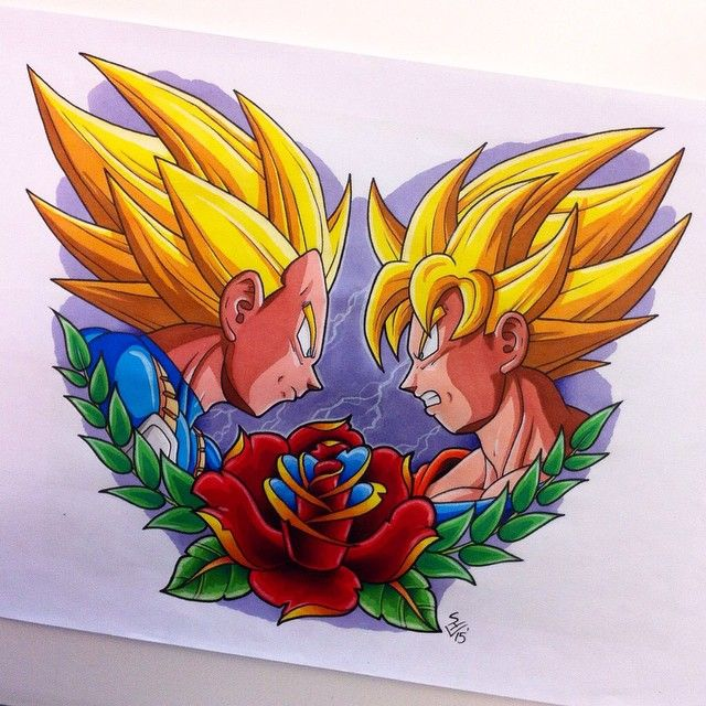 Asian Dragon Tattoo Sketch By Marinaalex On Deviantart: Vegeta Vs Goku Tattoo Design By Hamdoggz.deviantart.com On