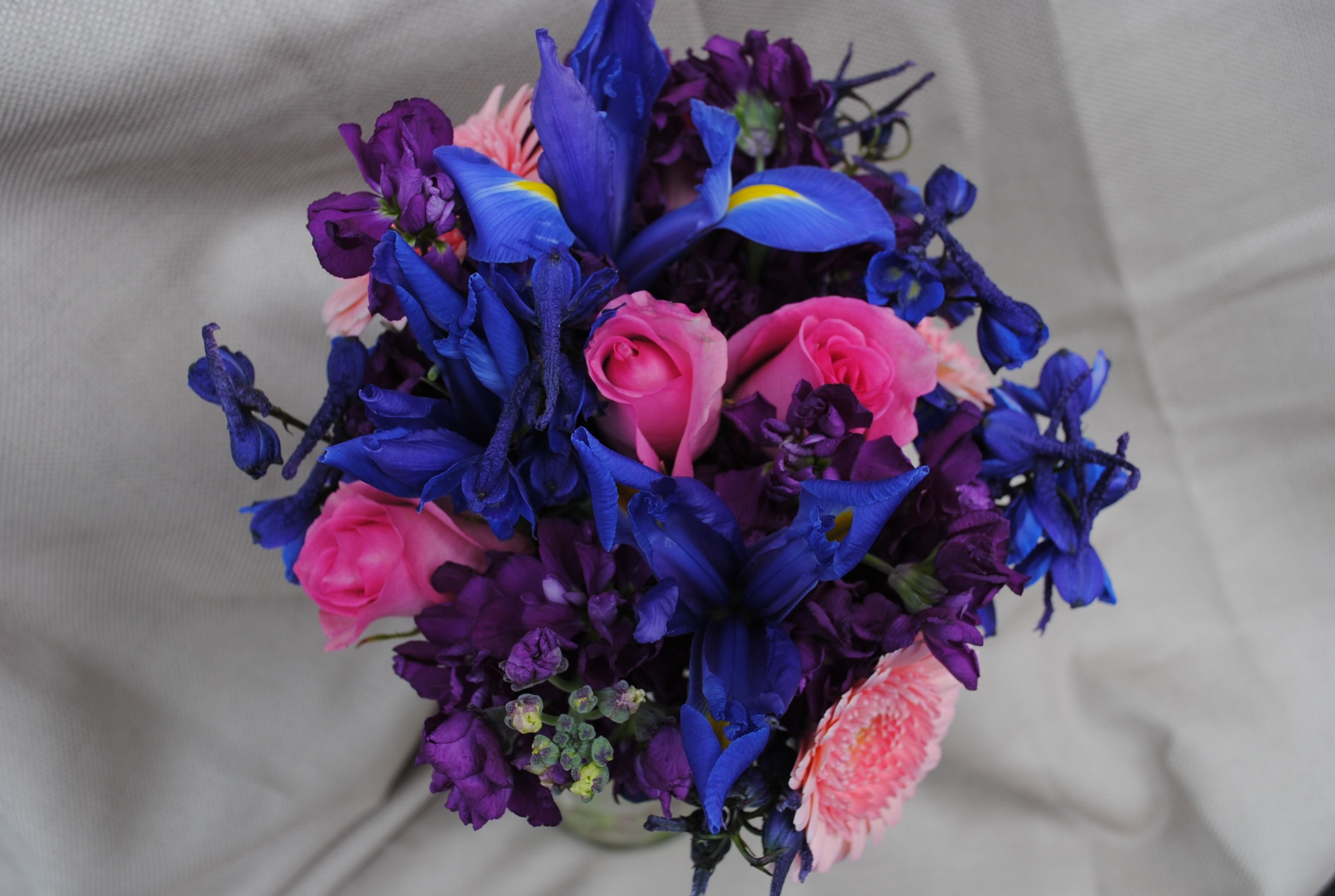 Bright Blue Purple And Pink Bouquet I Like This But Take Out The Add White Silver Accents