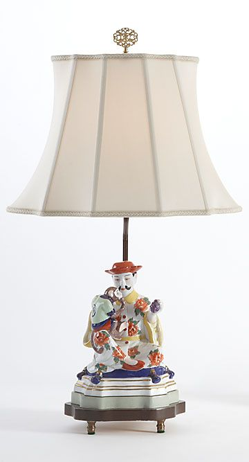 Chelsea House 68232 China Figurine Lamp Man Chinese Porcelain 23