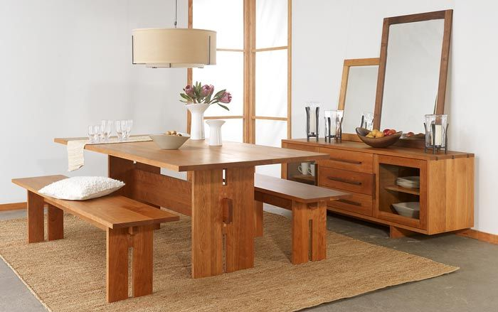 . Modern American Dining Furniture Set in natural cherry wood