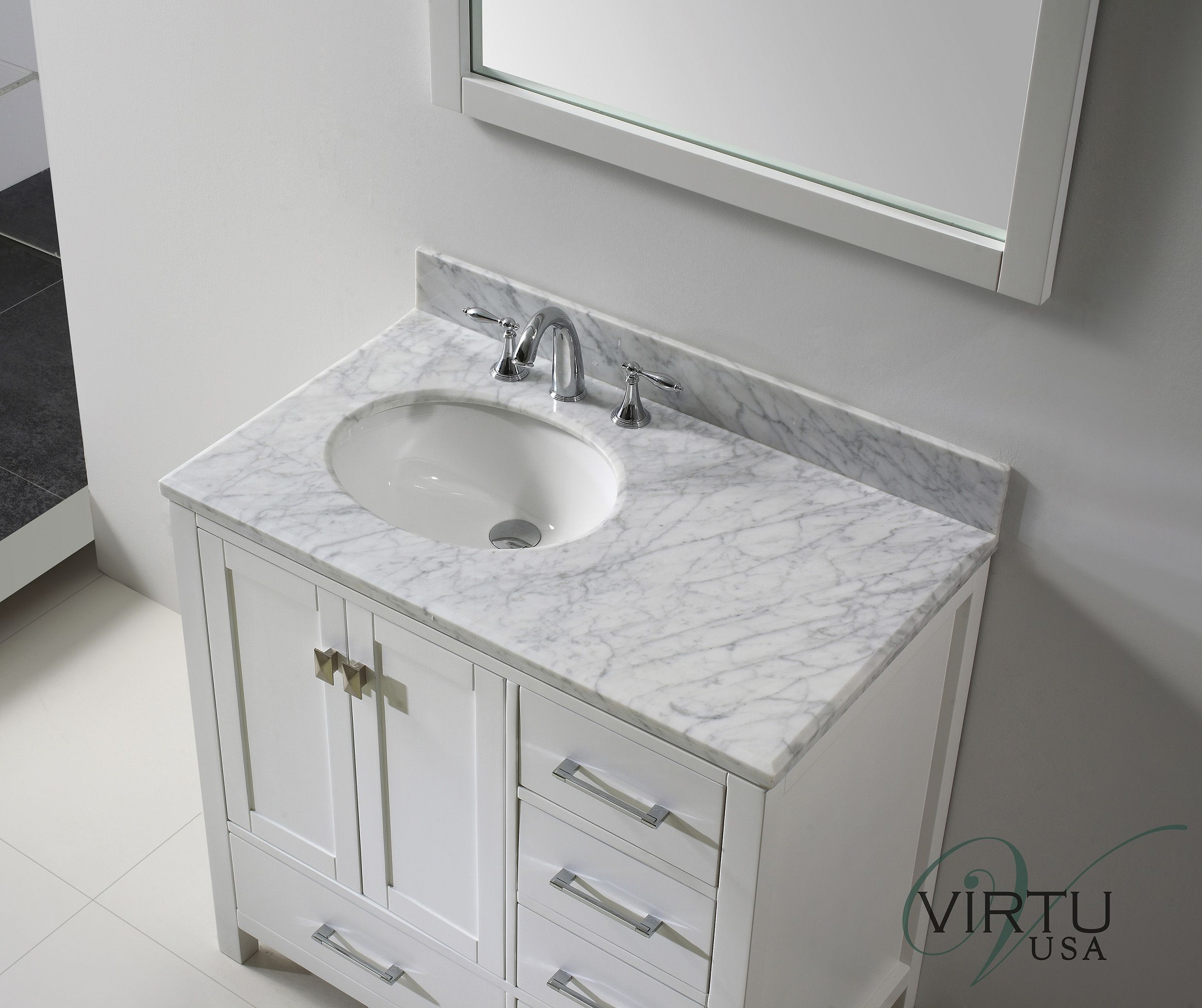 Attractive Bathroom Vanities With Tops White And Grey Granite Also White Wooden Panel 3 Dr With Images Small Bathroom Vanities White Vanity Bathroom Small Bathroom Storage