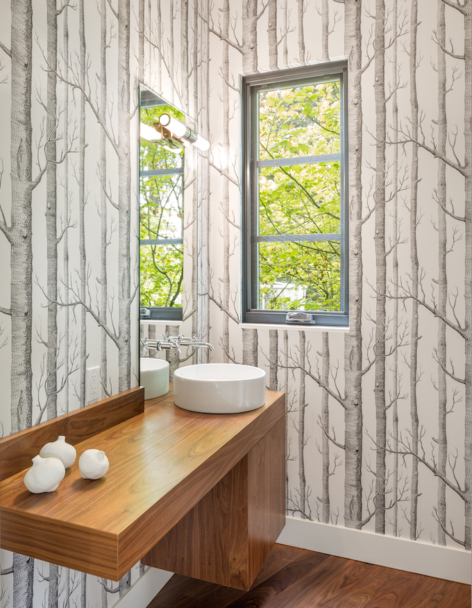 Powder Room Love / Tree Wallpaper / Design & Build by Vanillawood