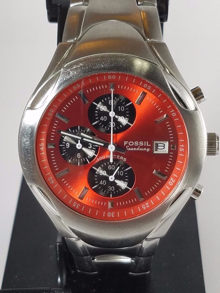 de2928fbe34c Fossil Blue Speedway CH-2353 Red Black Dial Analog Chronograph Stainless  Mens  Fossil  Sport