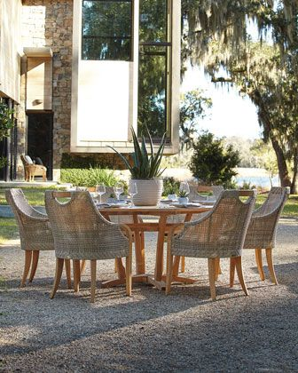 edgewood outdoor dining furniture with round table at horchow rh pinterest com
