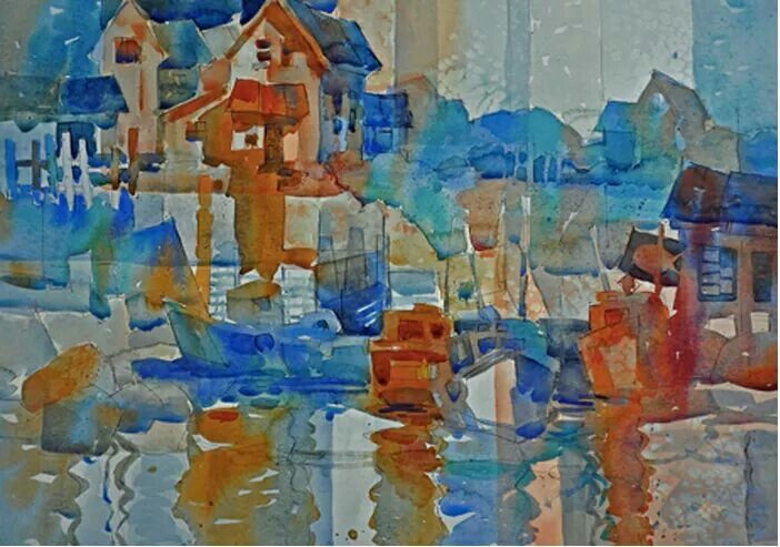 Swedish Watercolor Painter Lars Eje Larsson Abstract Painting
