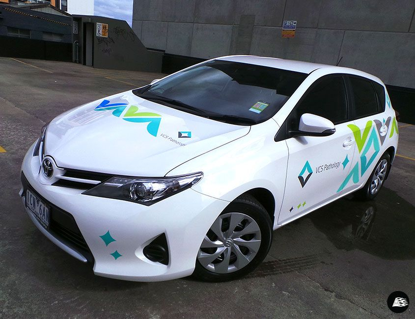 Fleet graphics vcs pathology vehicle wrap toyota corolla wrap