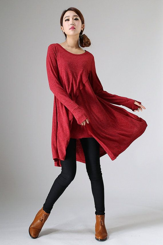 Womens tunic, tunic tops, asymmetric tunic, tunic dress, red dress ...