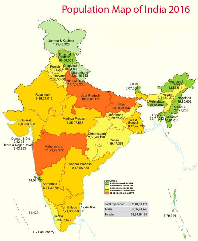 Population Map Of India 2016 Maps Pinterest