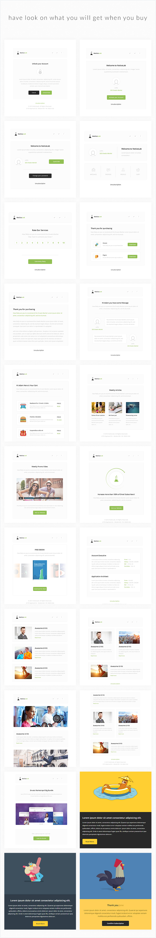 NoticeLab Email Notification Templates + Builder Email
