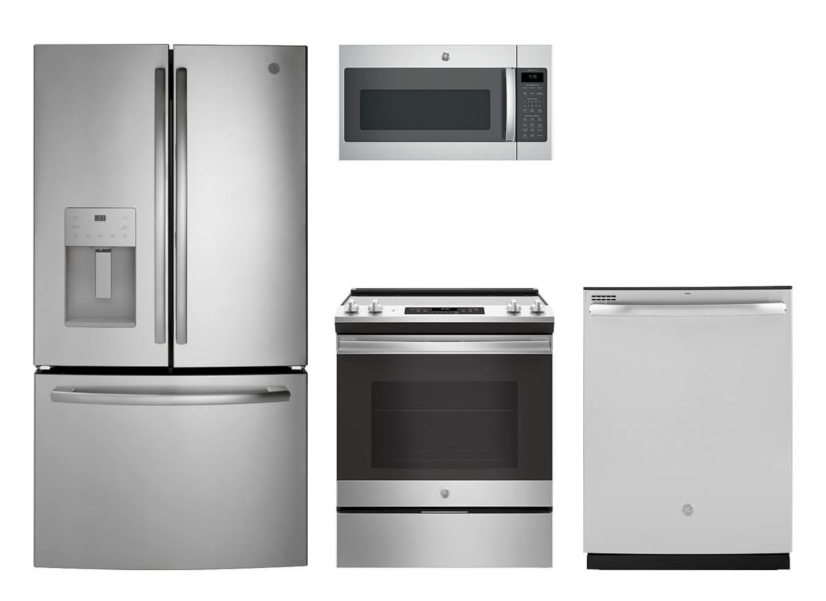 Ge Stainless Steel 4 Pc Appliance Suite Kitchen Appliances Kitchen Appliance Packages Appliances