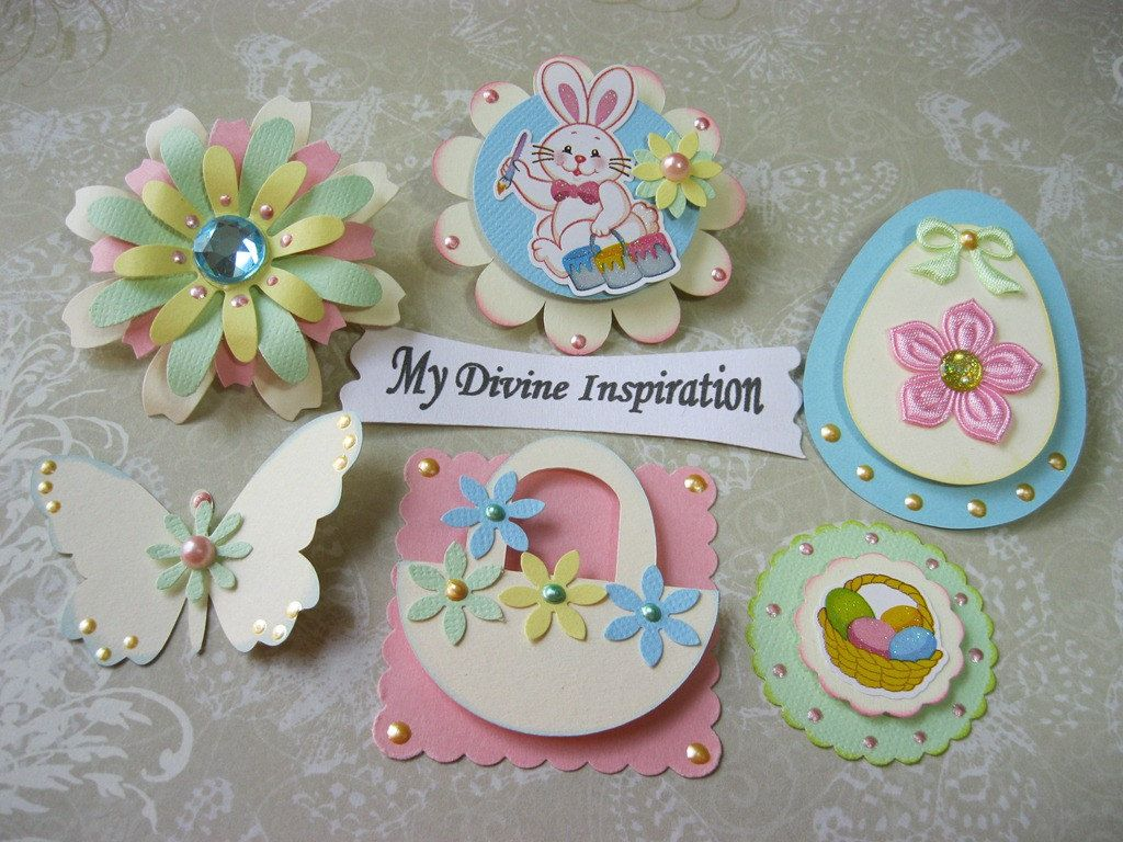 Easter bunny and eggs spring paper embellishments and paper easter bunny and eggs spring paper embellishments and paper flowers for scrapbooking cards mini albums and papercrafts jeuxipadfo Images