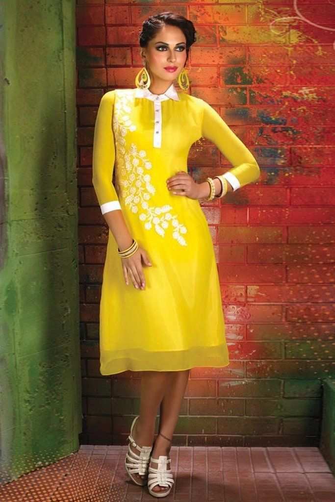 21f572568e6 Get a trend setter look on you next weekend party or function by cladding into  this marvelous yellow color party wear designer kurti.