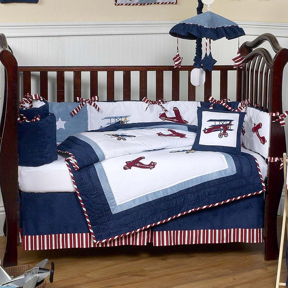 Close-up of bedding. Aviator Red White and Blue Vintage ...