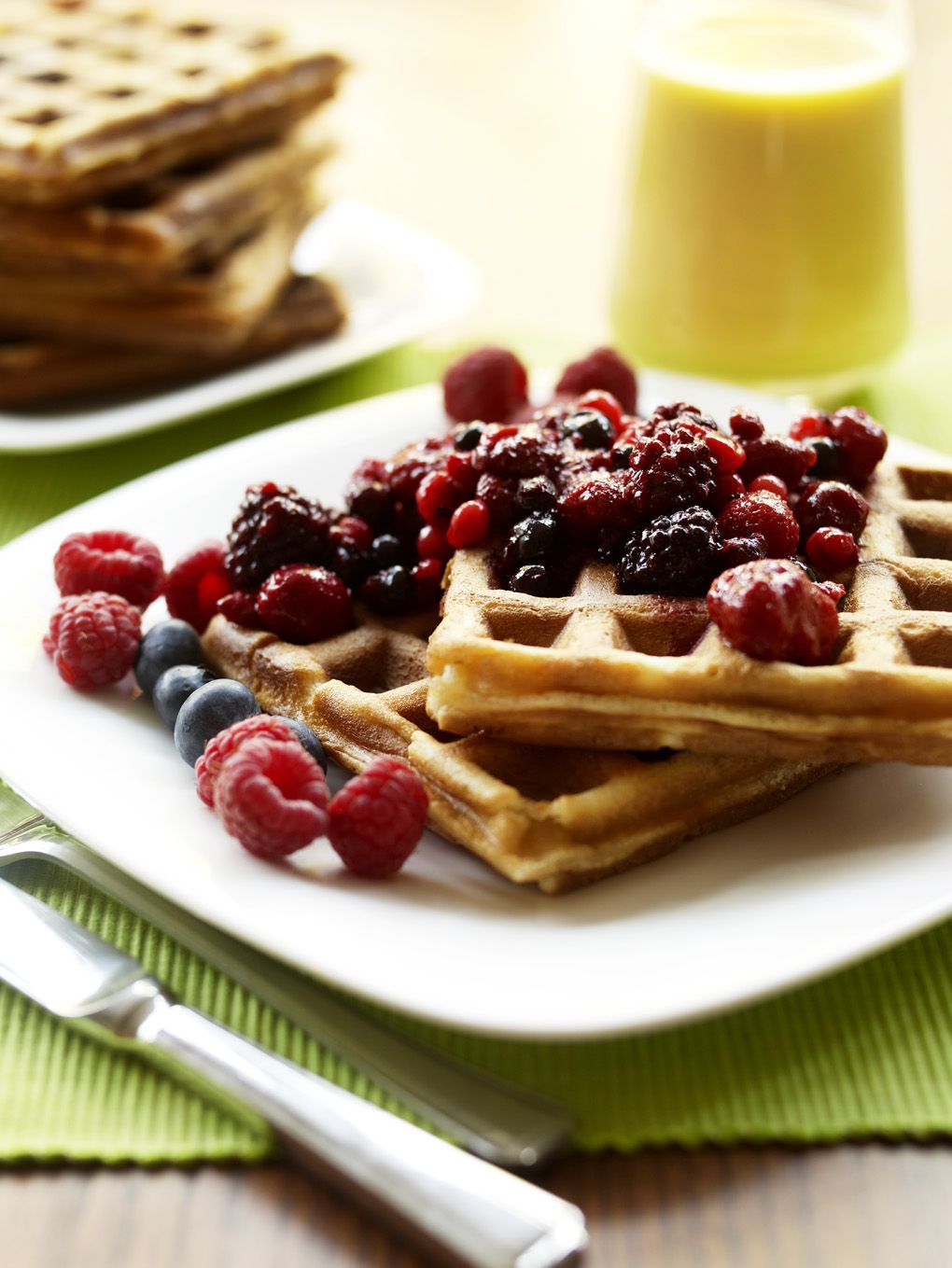 Almond Waffles with Berry Compote Dairy free waffles
