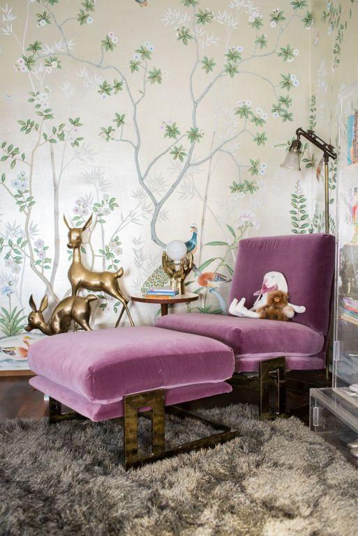Photo of Modern Glam Kindergarten Lucite Metallic Kinderzimmer Purple Velvet Chair #recreati …, #Chair # …