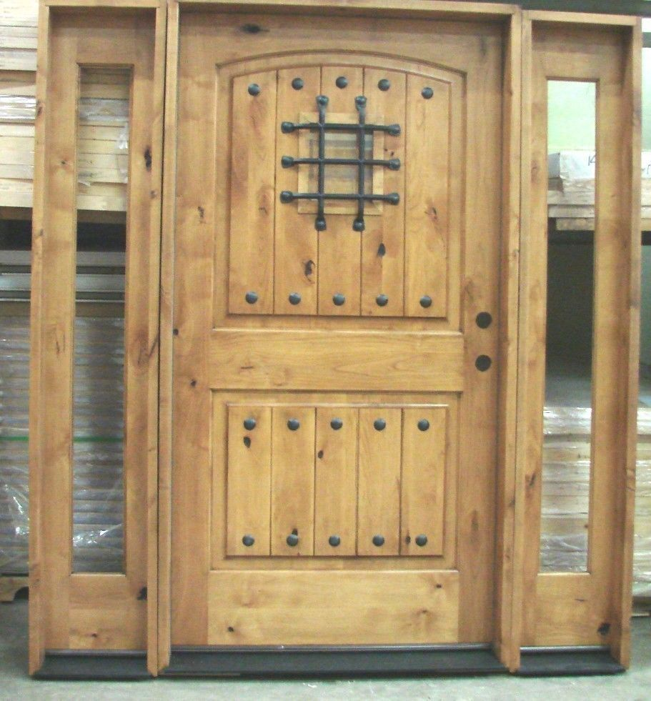Knotty alder door 42 x 80 with 2 full glass sidelights for Full glass exterior door