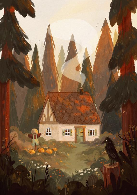 Autumn Forest Cottage Art Print, Cosy Fall Wall Art, Halloween Home Decor, 6x8