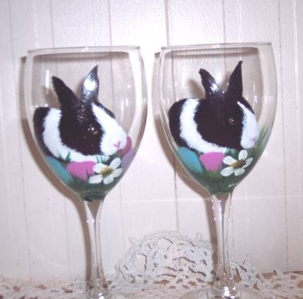 Hand Painted Easter Bunny Wine Glasses set of by PetloversBoutique, $35.00