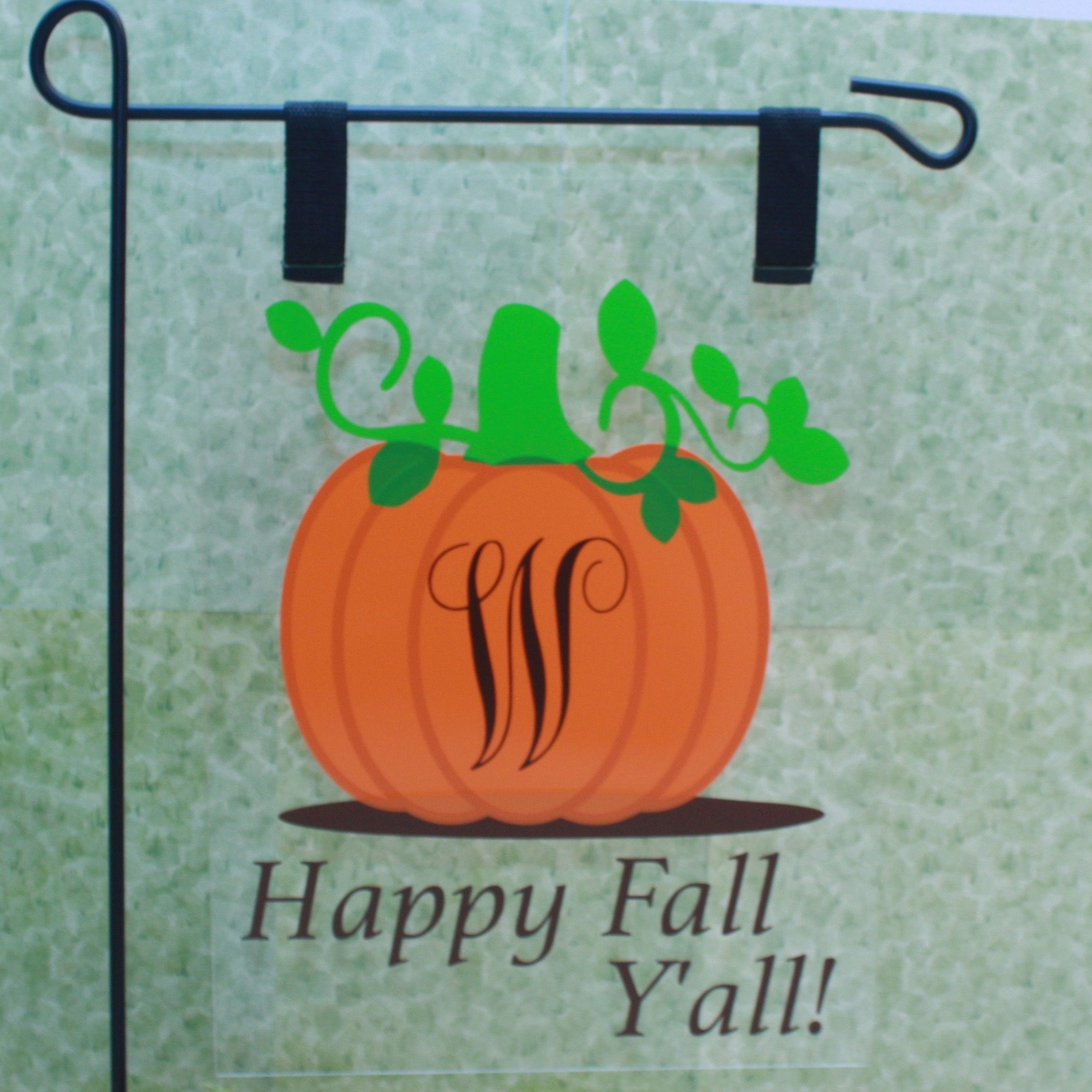 Pumpkin With Initial Plexiglass Garden Flag. Personalization To Include  Initial.