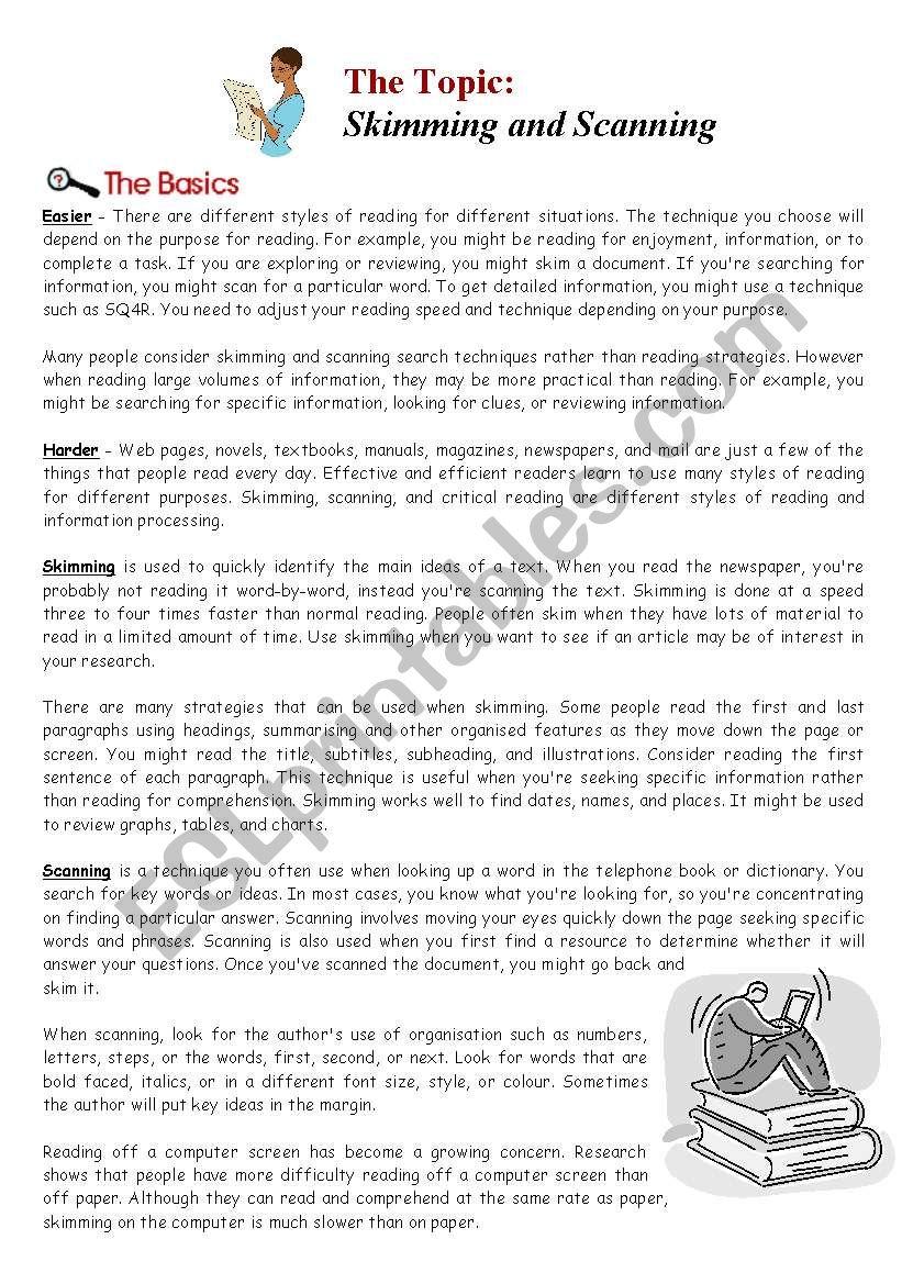 Skimming And Scanning Information Sheet Skimming And Scanning Reading Worksheets Reading Lesson Plans [ 1169 x 821 Pixel ]