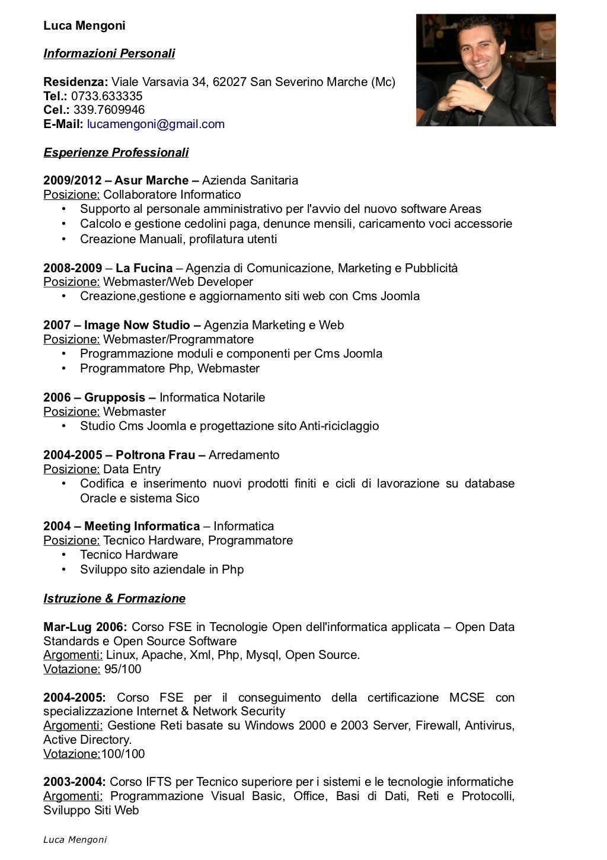 Luca Mengoni Curriculum Vitae Cronologico Al 291012 By Luca Mengoni Via Slideshare