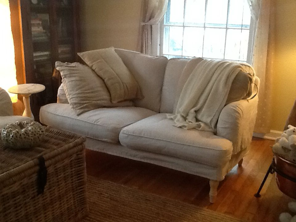The Ikea Stocksund Sofa and Loveseat! Fits nicely in a small space, but allows you to snuggle up properly. Better than hoped for! With washable slipcovers.