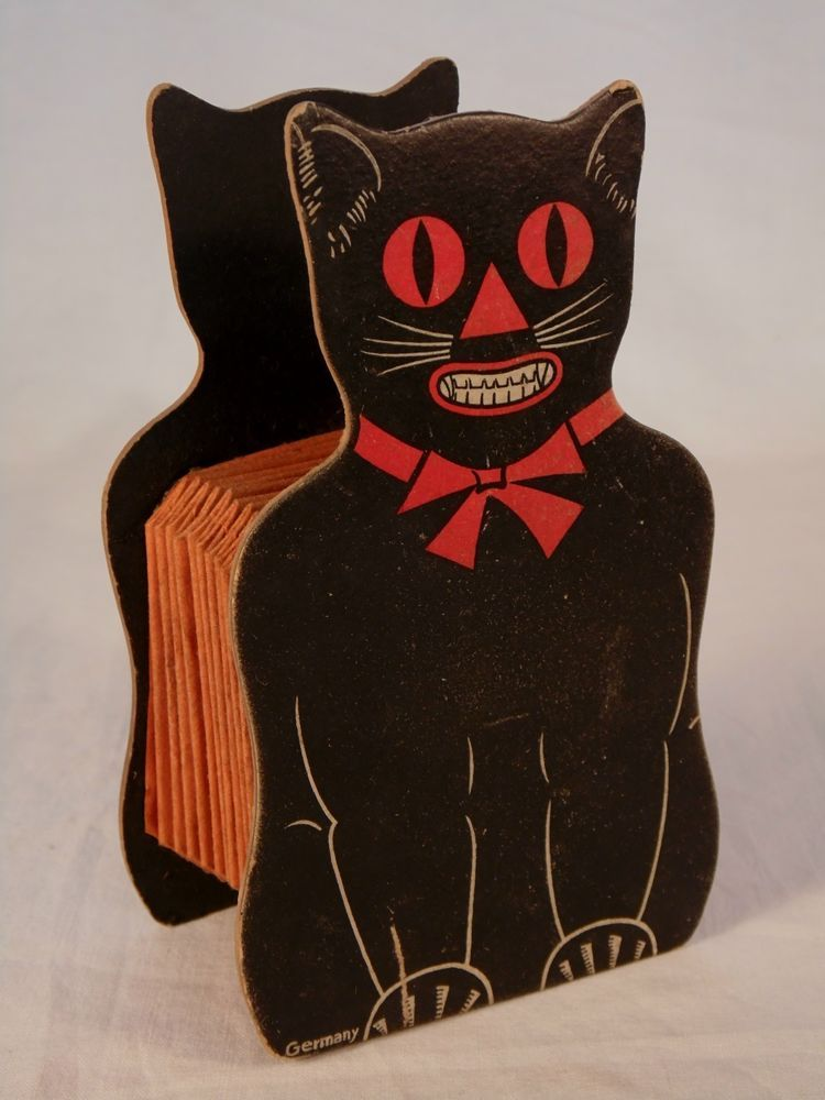 Vintage Halloween Decoration Cat Accordian Squeeze Box Black Cat