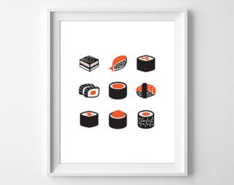 Minimal Sushi Print, Modern Sushi Wall Art, Asian Food Print, Kitchen Art,