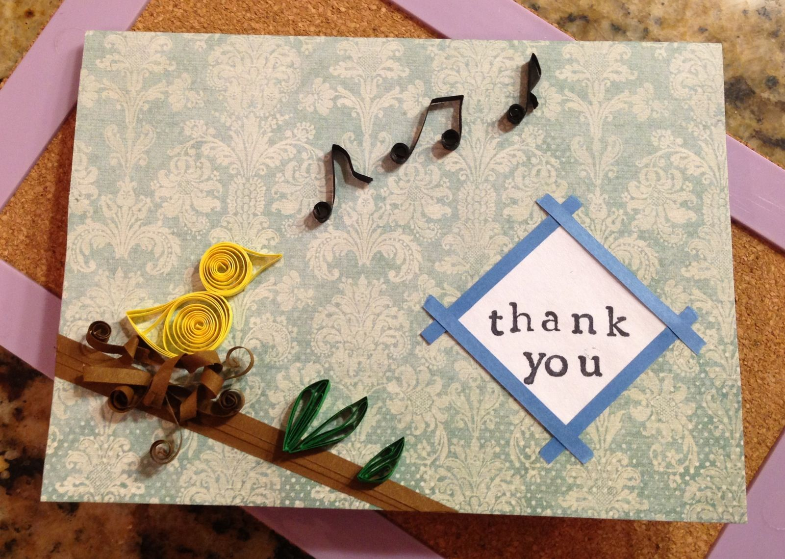Paper Quilling Canary Bird Singing Music Handmade Greeting Cards