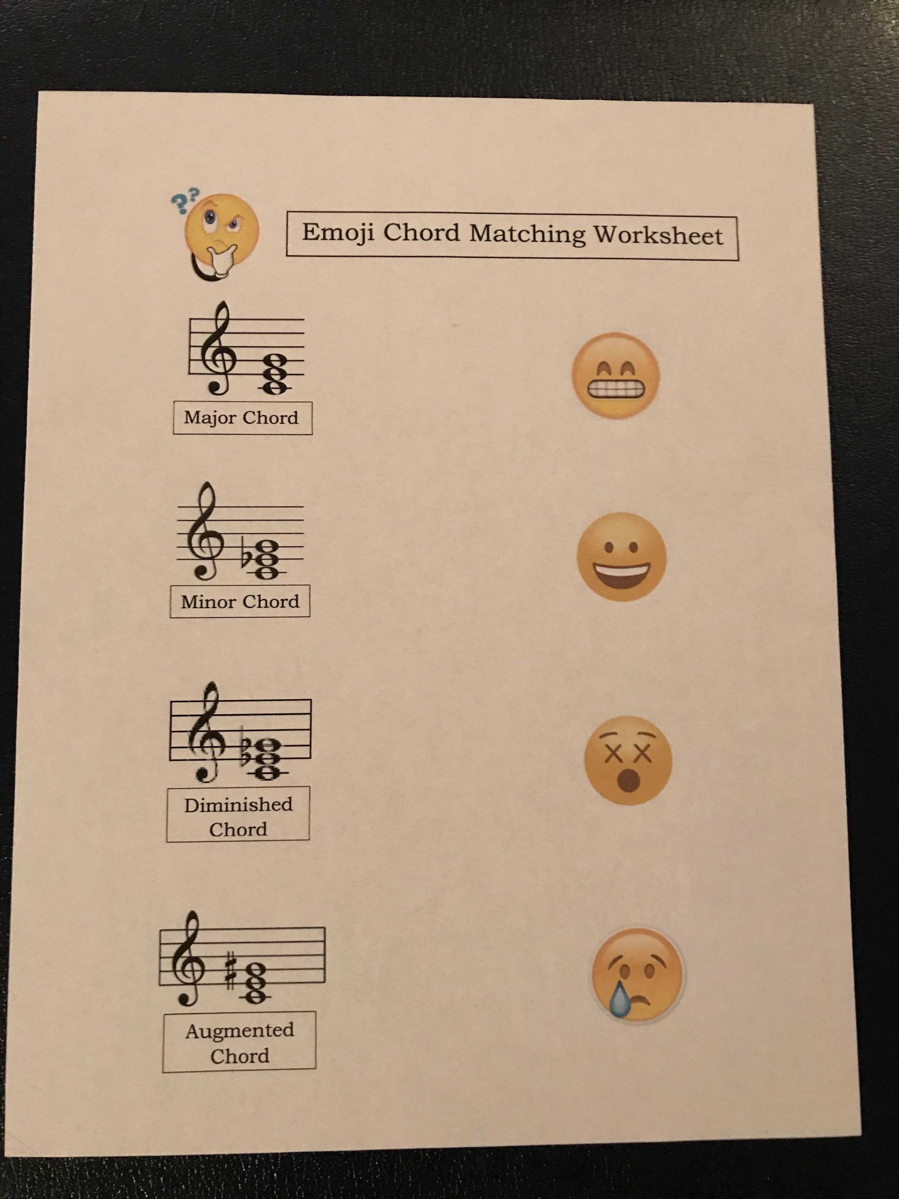Emoji Matching Ear Training Worksheet