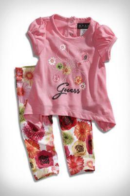 Newborn Girl Screen-Print Top And Leggings Set (0-9m)   guess kids