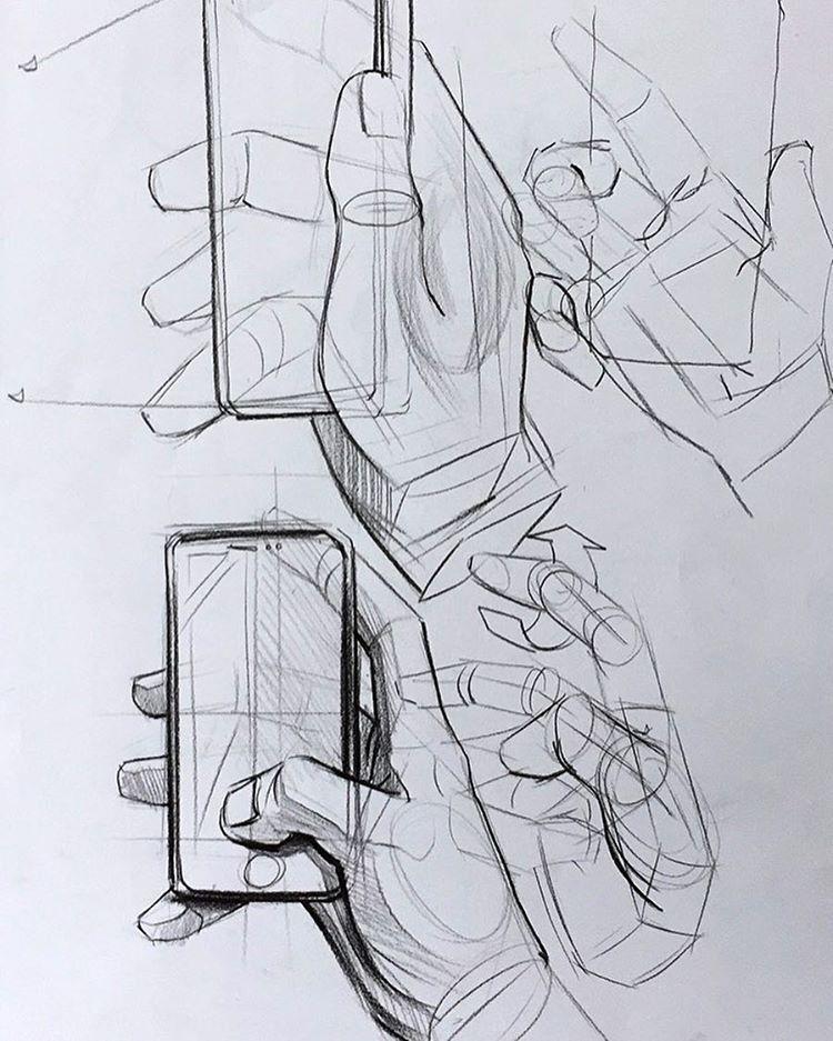 Telefon Tutan El çizimi Drawing Tips And Techniques Dibujo