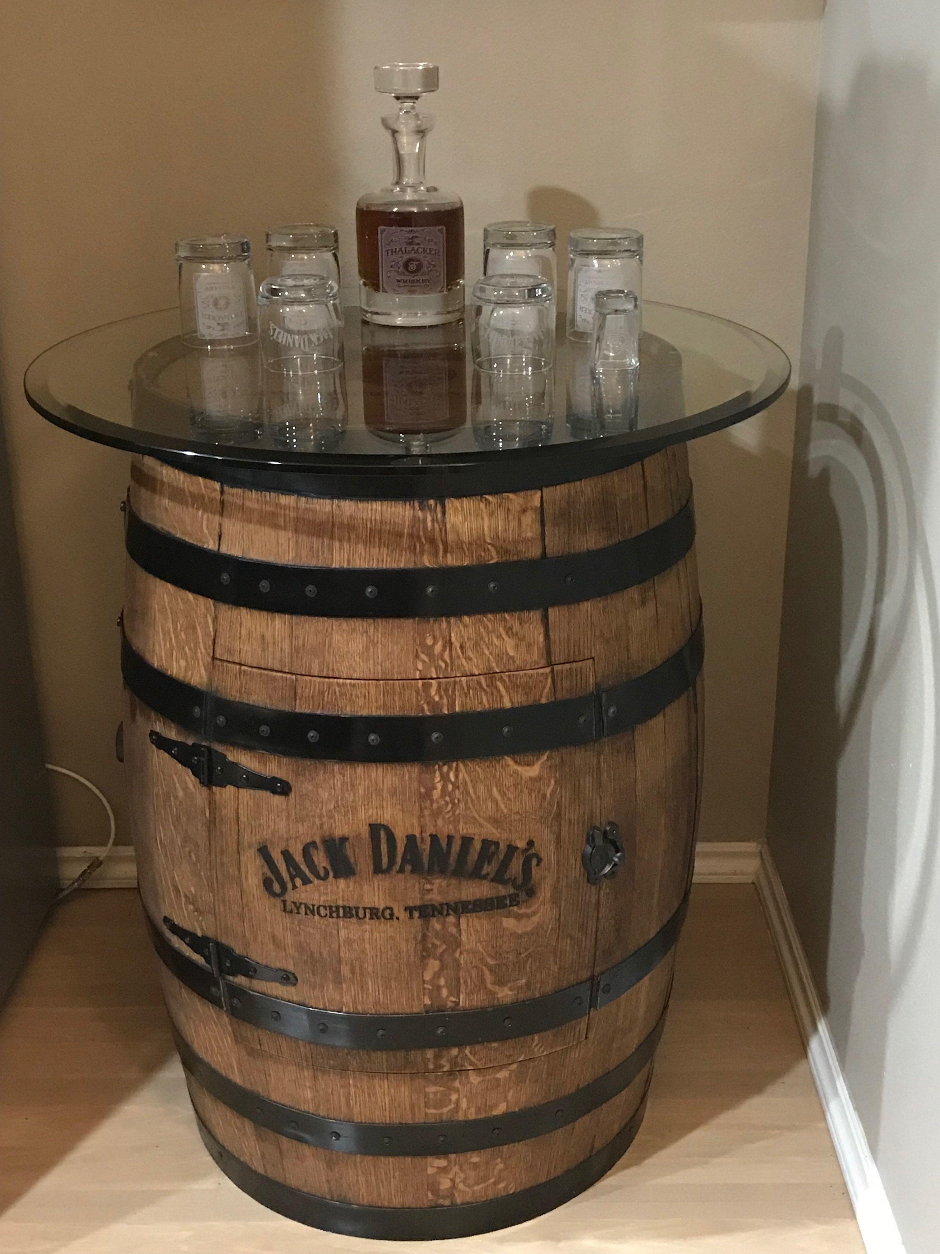 whiskey barrel single door table