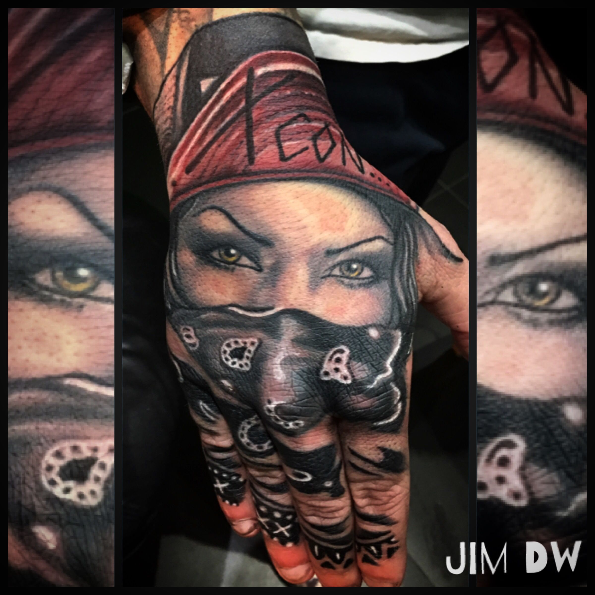Chicano Hand Tattoo Handtattoo Of Gangster Girl Wearing Bandana Ink By Jim Dw Hand Tattoos Bandana Tattoo Badass Tattoos